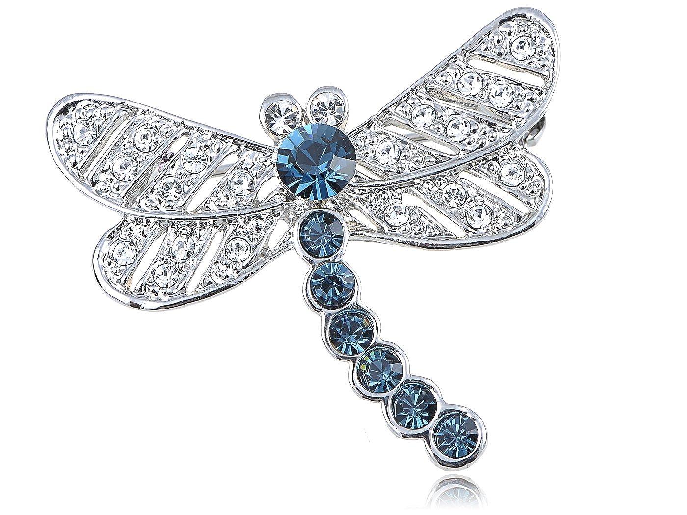 ea742f862af1d Alilang Swarovski Crystal Elements Captivate Sapphire Blue Petite Dragonfly  Pin Brooch