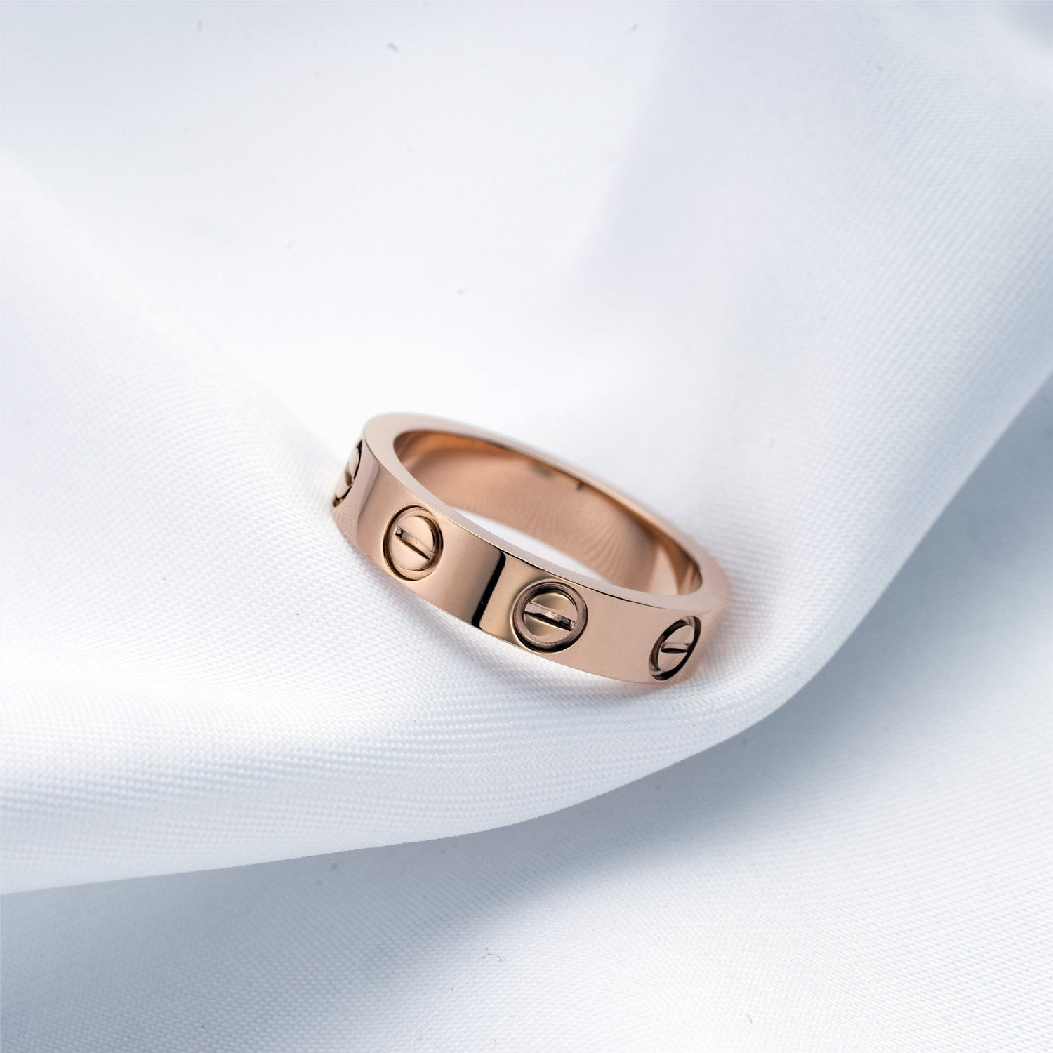 BESTJEW Rose Gold Love Screw Ring Engagement Wedding Couples Band Titanium Stainless Steel Size 9 by BESTJEW (Image #3)