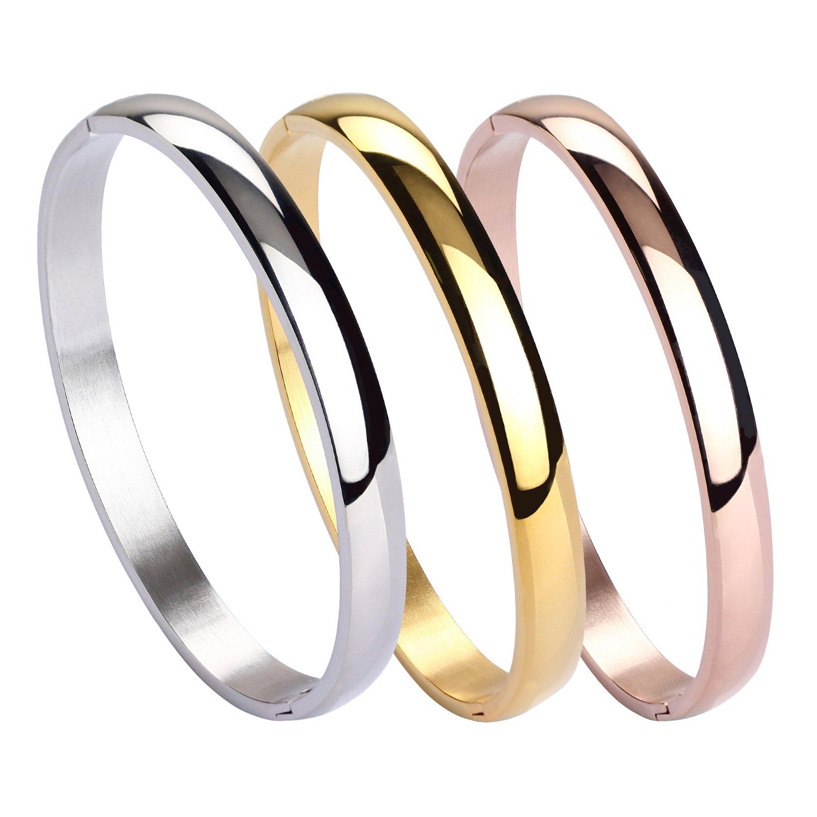 JUSNOVA 3Pcs Stainless Steel Bangle Brecelet for Women Girls Plain Polished Finish Cuff Bracelet 7.3 inches Silver/Gold/Rose Gold Tone