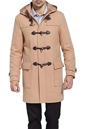 BGSD Men's 'Benjamin' Wool Blend Classic Duffle Coat at Amazon