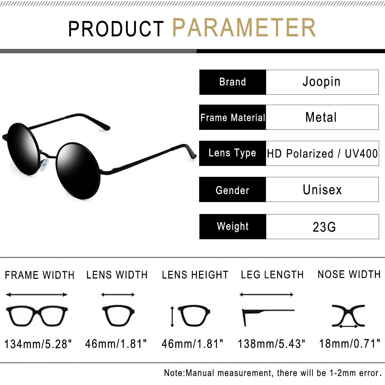 ff2516c7de Amazon.com  Joopin-Round Retro Polaroid Sunglasses Driving Polarized Sun Glasses  Men Steampunk Vintage (Black Grey)  Clothing