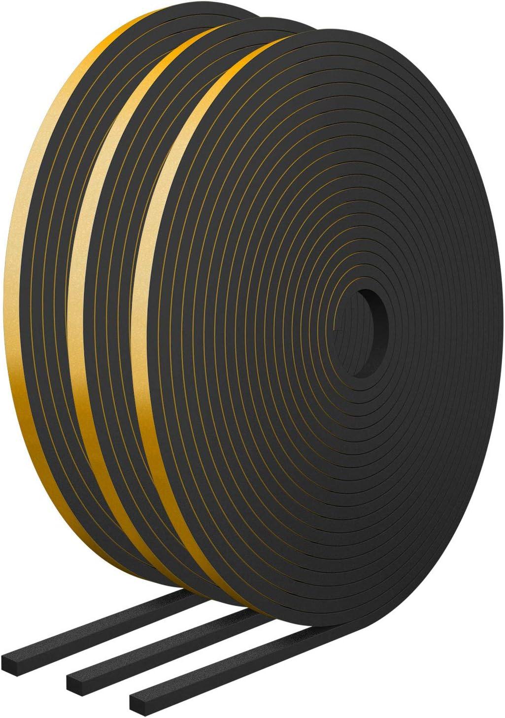 RATEL Tira de Sellado Junta 6 mm (W) * 3 mm (H) * 18 m (L) con Tijeras * 1, Tiras de Sellado Autoadhesivas Anticolisión y Aislamiento Acústico para Grietas y Espacios (Negro)