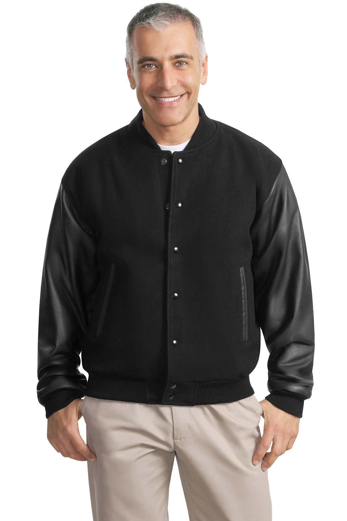 Port Authority Men's Port Authority Wool and Leather Letterman XS Black/Black