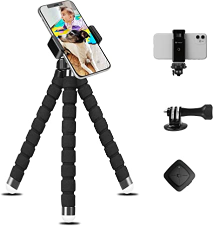 Gray Lusweimi Mini iPhone Tripod for Phone Camera Gopro Desk Cell Phone Holder for Webcam Smartphone//Android//Action Camera Selfie Flexible Tripod with Wireless Remote//Phone Holder//GoPro Mount