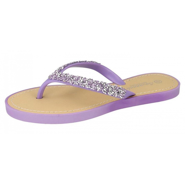 Savannah Damen Zehensteg-Sandalen / Flip Flops mit Glitzer-Design (40 EU) (Säure-Gelb) 1qEx1dK9Z