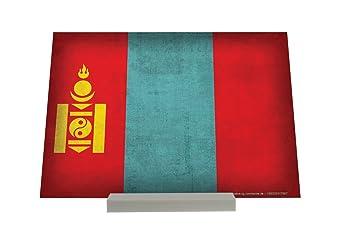 Soporte Fotografias Trotamundos Bandera de Mongolia Letrero Retro: Amazon.es: Hogar