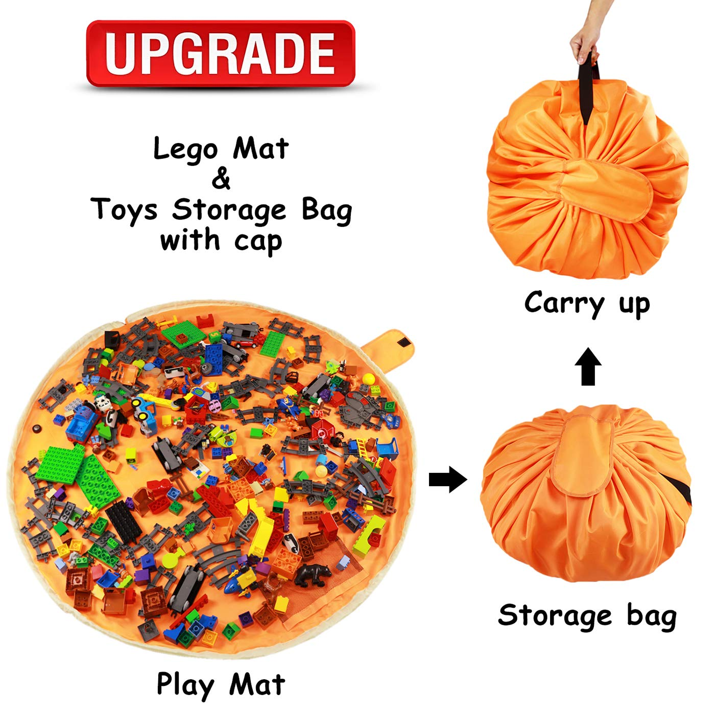 Lego Bag and Lego Toy Organizer Storage Bag Mat by Drawstring Lego Mat and Play Toy Mat Bag/Storage for Children – Lego Container Storage 60'' for Kids Storing Clean up Lego Toys with Cap (UPGRADE)