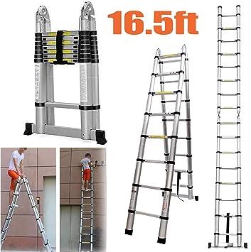 Escalera telescópica de 5 m con marco y escaleras rectas, portátil, de aluminio, extensible, multiusos, con barra estabilizadora, altura de 16.5 pies, carga máxima de 150 kg: Amazon.es: Bricolaje y herramientas
