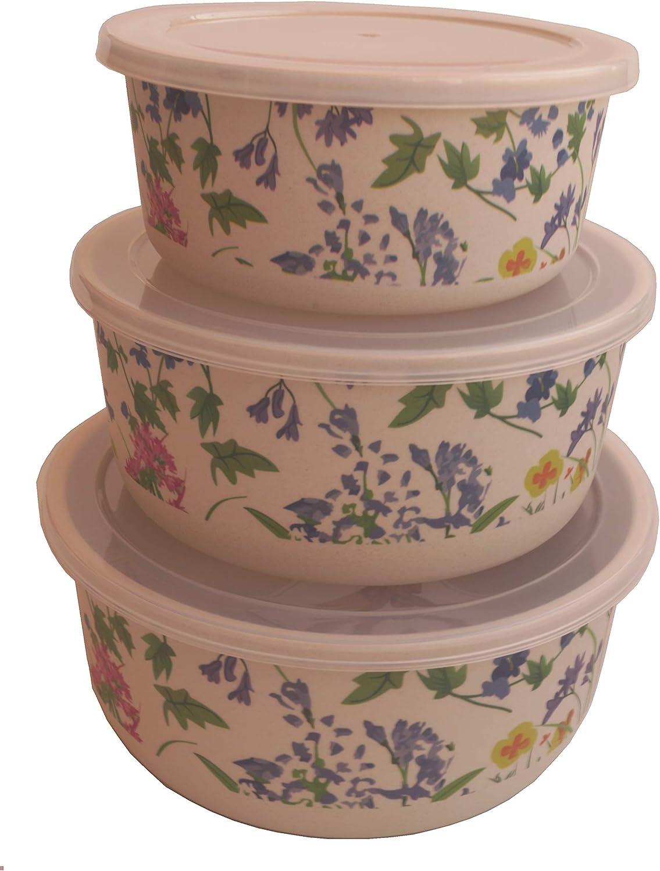 Tuper de Bambu 3 Tupers de Fibra de Bambú Ecologicos - Material Organico, Reciclable, Biodegradable - Apto Lavavajillas - Resistente y Ligero - Eco, Bio, sin BPA ni Plastico - Taper Color Flores