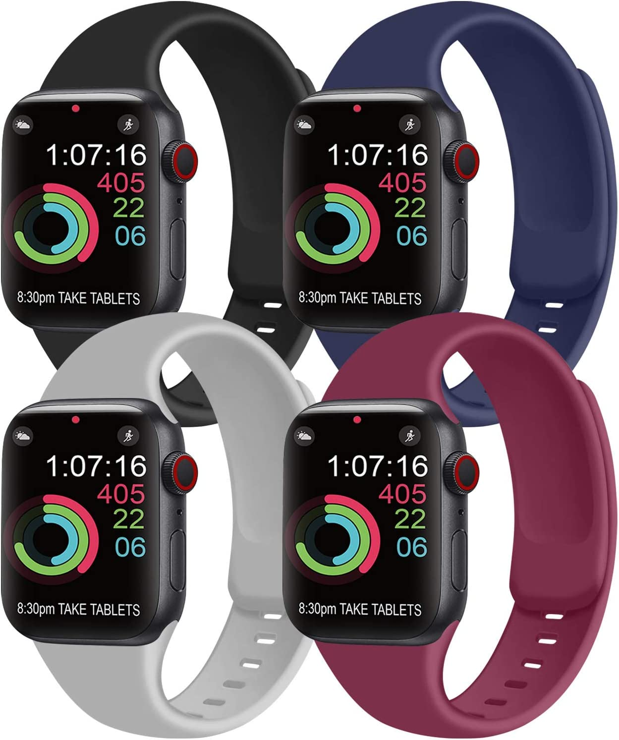 [Pack 4] Compatible with Apple Watch Bands 40mm 38mm for Women Men, Soft Silicone Bands Compatible with iWatch Series 6 5 4 3 2 1 & SE (Black/Navy Blue/Gray/Wine red, 38mm/40mm-M/L)
