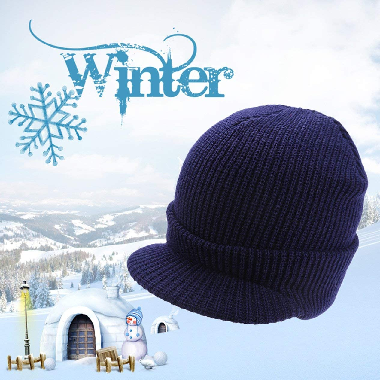 Trendy Men Women Winter Elastic Knitting Hat Wool /& Polyester Thick Warm Sport Cap Hat Beanie Skull Cap Daily Slouchy Hats