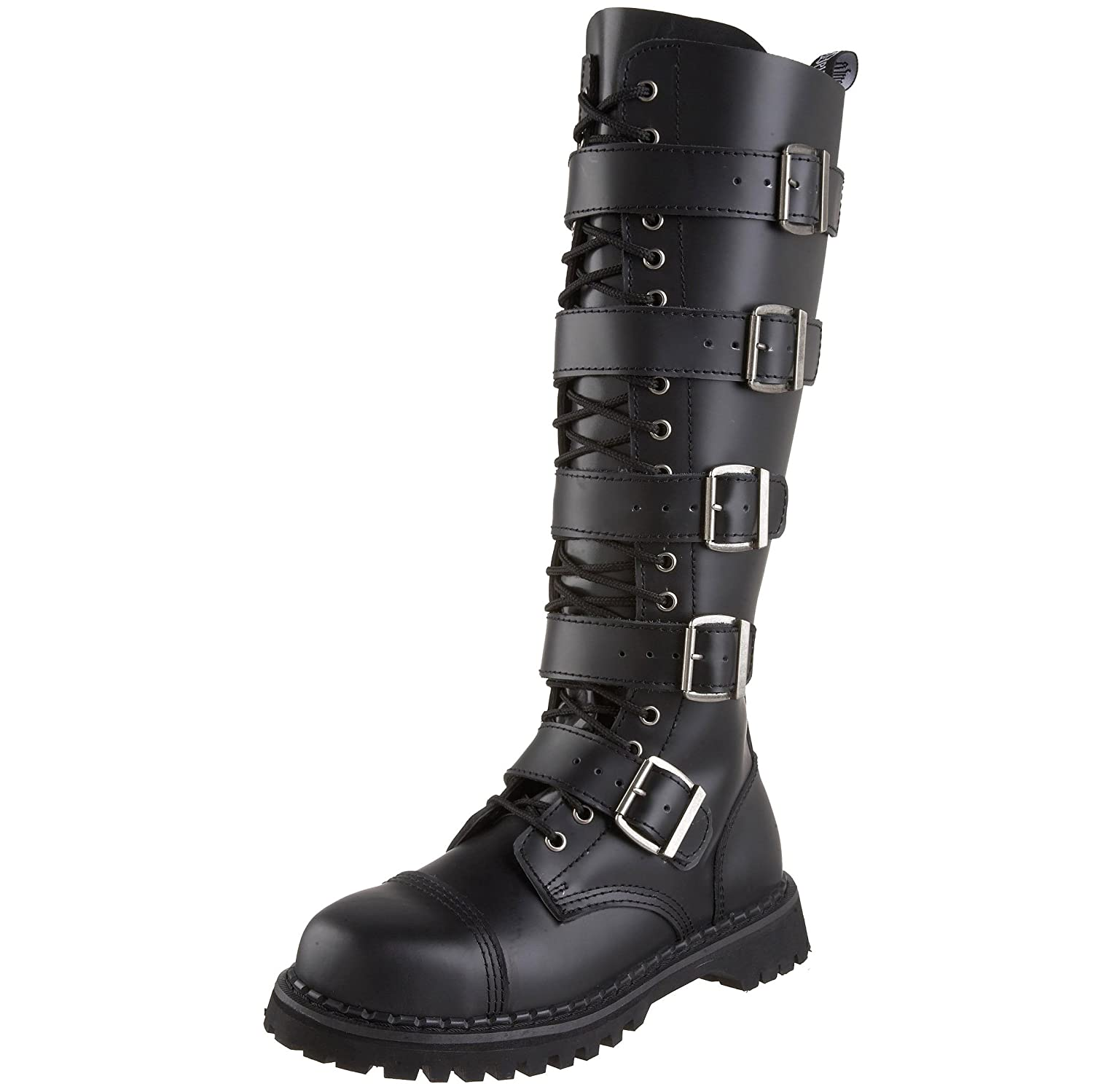 Summitfashions MENS Black Leather Knee High Boot 20 Eyelet 5 Steel Strap Gothic Punk Boot Steel 5 Toe B001GFZ61G 10 D(M) US c2f81f
