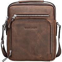 BISON DENIM Leather Messenger Bag Men's Cross Body Shoulder Purse Vintage Travel Purse