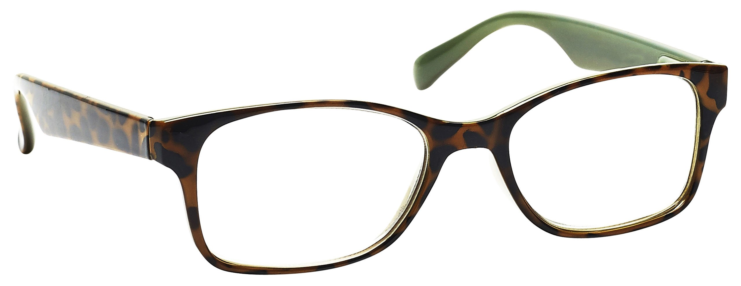 The Reading Glasses Company Brown With Mint Green Inner Readers Wayfarer Style Mens Womens Inc Bag R71-2 +1.00