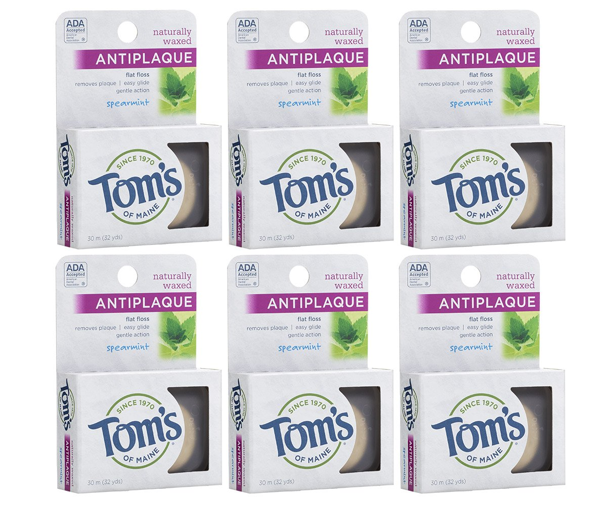 Tom's Of Maine Anti Plaque Flat Spearmint Floss, pack of 6 by Tom's of Maine