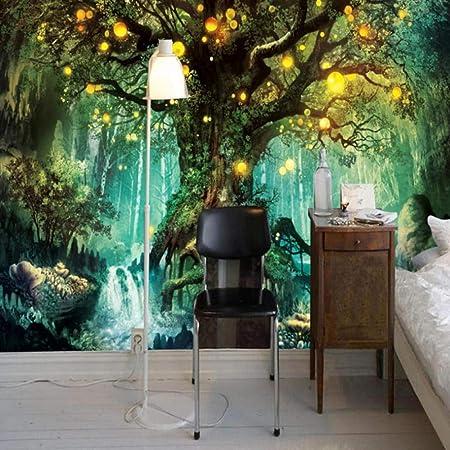 Papier Peint 3d Photo Forêt Magique Mural Salon Chambre