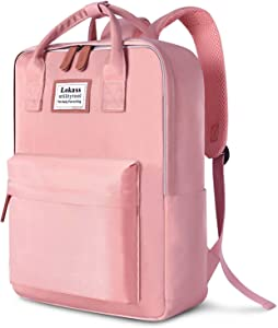 SOCKO Laptop Backpack for Women / Girls Stylish College Backpack School Bag Lightweight Bookbag Travel Work Carry On Backpack Casual Daypack Rucksack Computer Bag Fits up to 15.6 Inch Laptop, Pink