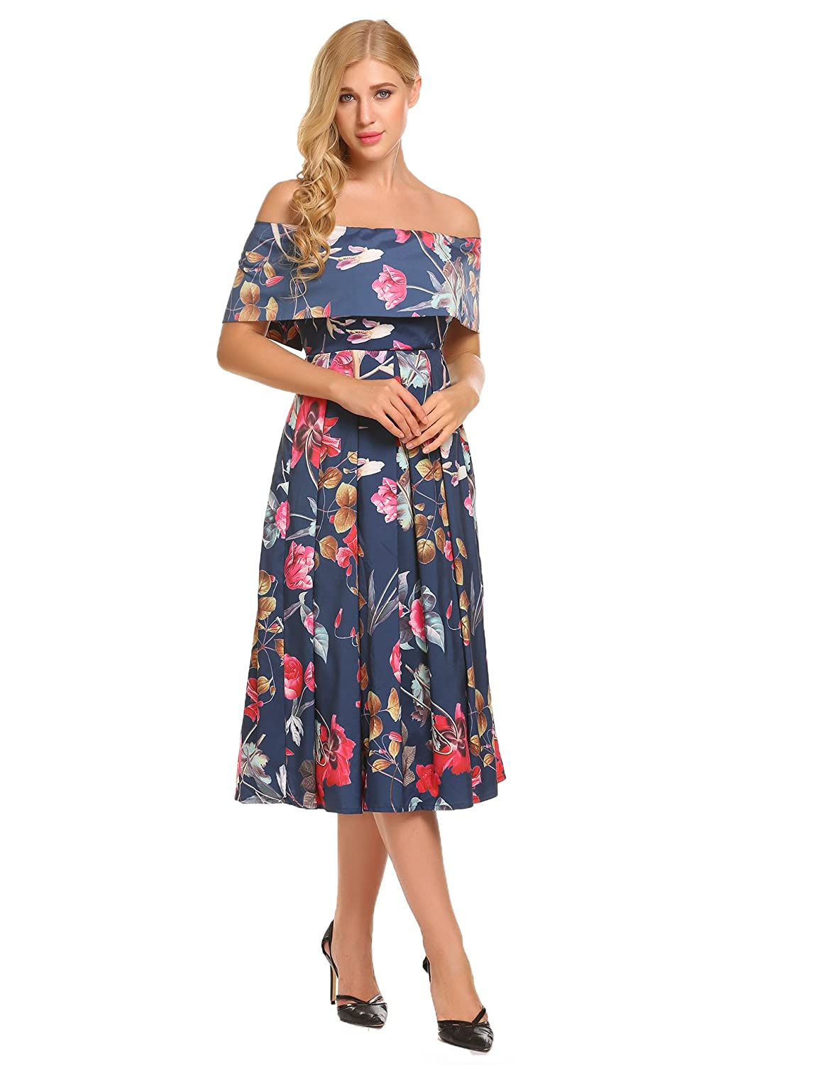 9aaa8a2576f52 Brand: Geesenss Material: 100% Polyester 2 Colors: Yellow, Blue Collar:  Slash Neck Sleeve: Short Sleeve Waist Type: High Waist Pattern: Floral  Length: Knee ...
