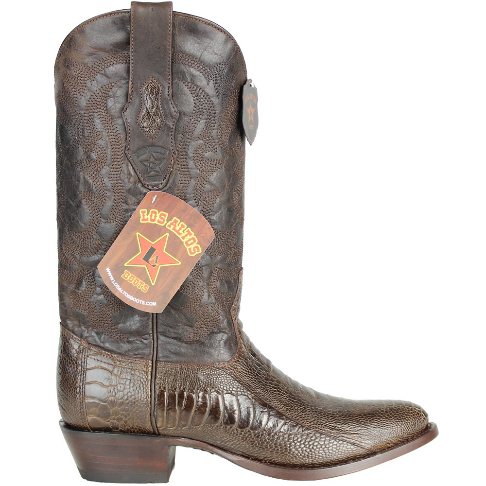 ce85ef2392d Genuine Ostrich Leg Brown Round Toe Los Altos Men's Western Cowboy Boot  650507