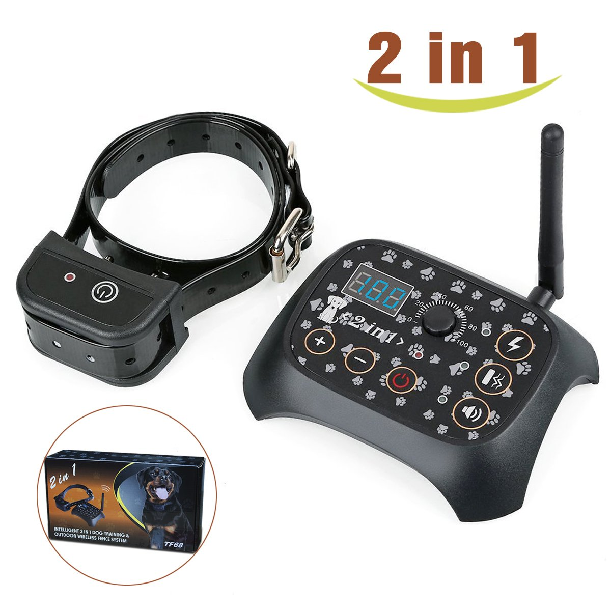 Stonepack 2-in-1 Wireless Dog Fence System with Dog Training Collar, Invisible Pet Fence System Kit Static Shock & Vibration & Tone for Small to Large Dogs