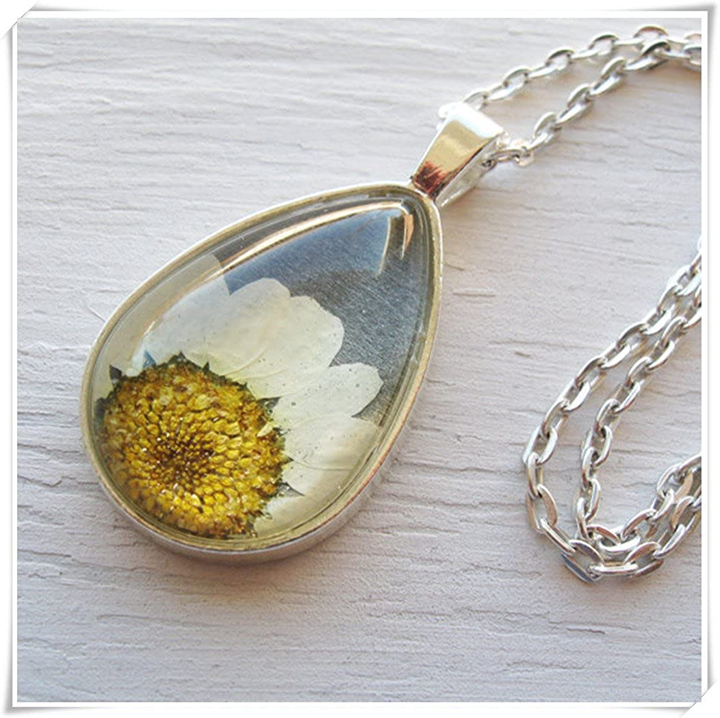 Dandelion Real Pressed Flower Necklace, White and Gray Daisy Botanical Teardrop Necklace wish dandelion