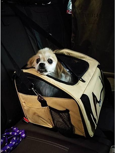 Plegable Portador de viaje del Asiento de coche para Mascotas Perros y Gatos, Marrón: Amazon.es: Productos para mascotas