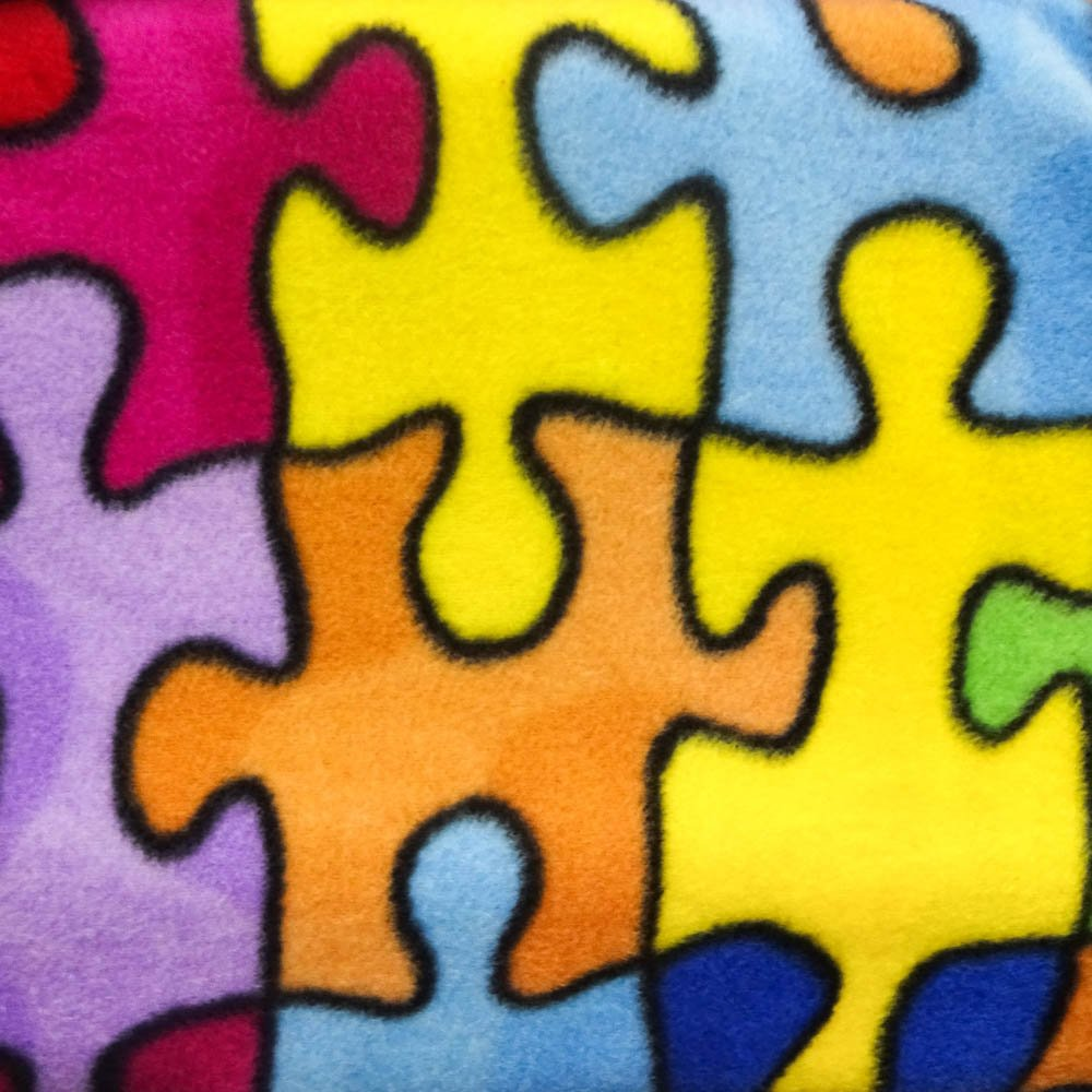"60/"" Inches Wide Autism Multicolor Jigsaw Puzzle Anti Pill Fleece Fabric Sold By The Yard"