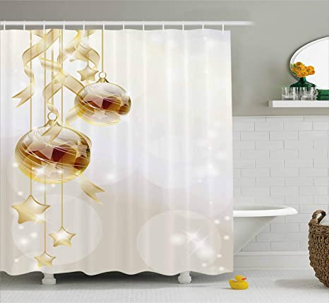 Arredo Bagno Marrone E Beige.Christmas Shower Curtain By Ambesonne Color Oro Palle Di Natale Con
