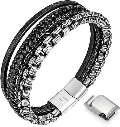 Amazon.com: Mens Bracelets, Leather and Steel Bracelets, Chain Bracelets  with Magnetic Clasp, Steel Bracelets for Men: Clothing