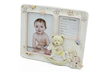 Amazoncom Baby Girl Bear Birth Record Frame 4x6 Ceramic Ideal