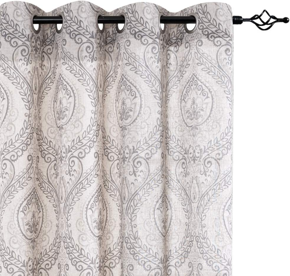 jinchan Damask Printed Curtains for Bedroom Drapes Vintage Linen Blend Medallion Curtain Panels Window Treatments for Living Room Patio Door 1 Pair 63