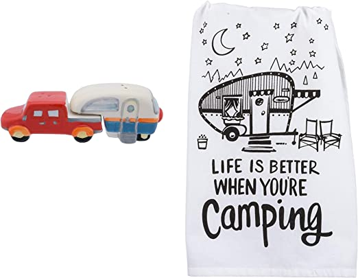 Dish Towel with Salt and Pepper Shakers Camping 3 Piece Kitchen Bundle