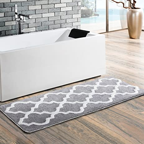 Moroccan Patten Extra Long Bathroom Rug, Uphome Microfiber Washable  Non Slip Soft Absorbent Decorative