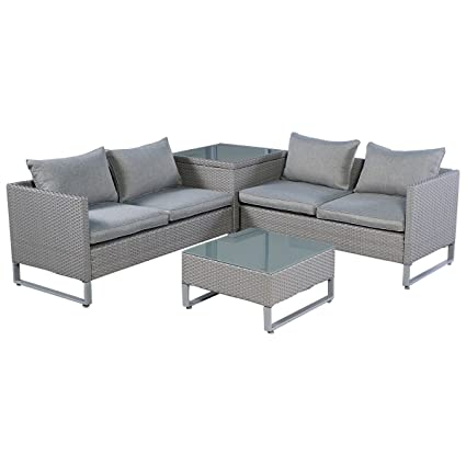 TANGKULA 4 Piece Patio Furniture Set Outdoor Garden Lawn Wicker Rattan  Cushioned Love Seat With Storage