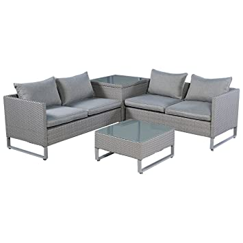 Amazon Tangkula 4PCS Gray Rattan Wicker Patio Sofa Cushion