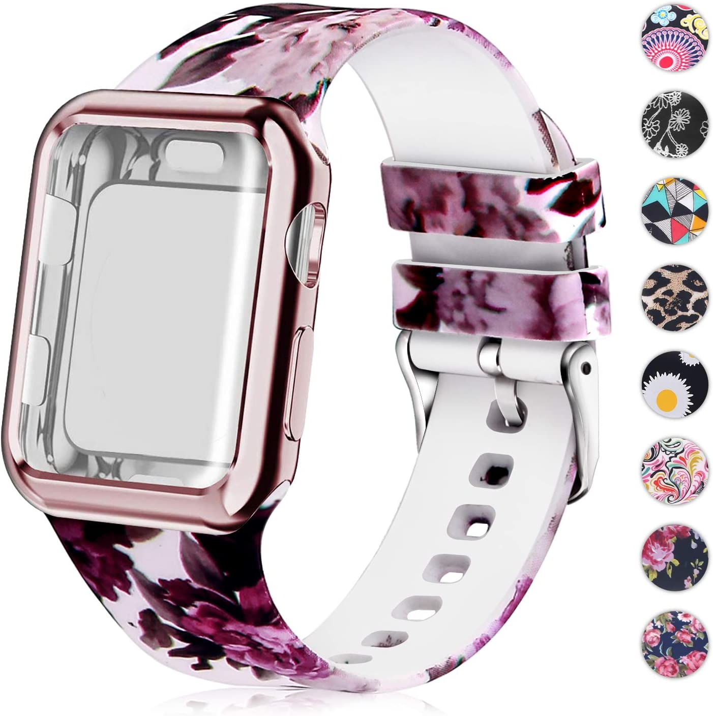 Compatible for Apple Watch Band 42mm Women with Screen Protector Case, Soft Silicone Sport Wristband for Apple Watch iwatch Series 3 2 1 (42mm, Purple Flower)