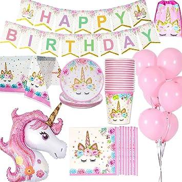 Unicornio Decoraciones cumpleaños Suministros Vajilla para 16 personas 1 Paño tabla Cubierta 16 Copas 16 Platos 16 Servilletas 1 Happy Birthday ...