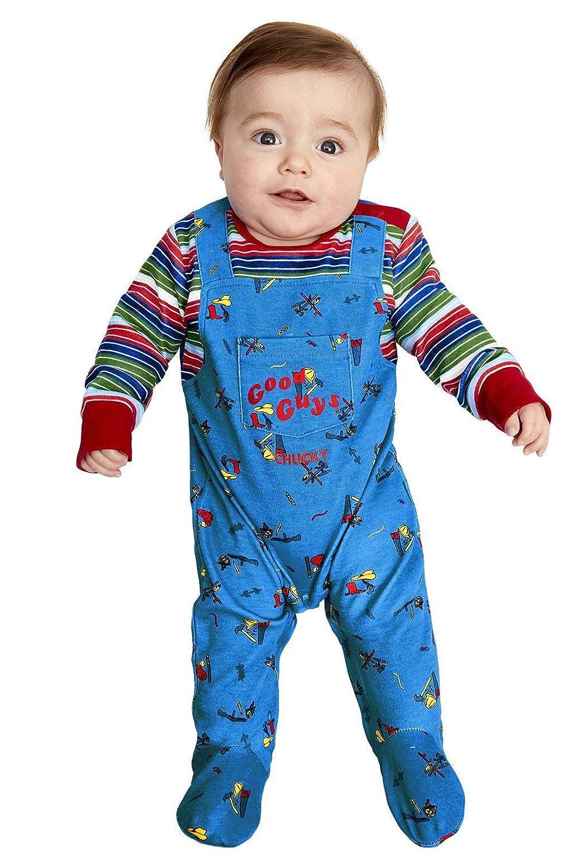 Smiffys 52411B3 - Disfraz oficial de Chucky para bebé, para niños, color azul y rojo, B3-6-9 meses