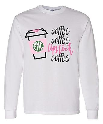 0d2e2f76f76c United Monograms Monogrammed 'Coffee & Lipstick' Long Sleeve Tshirt ...