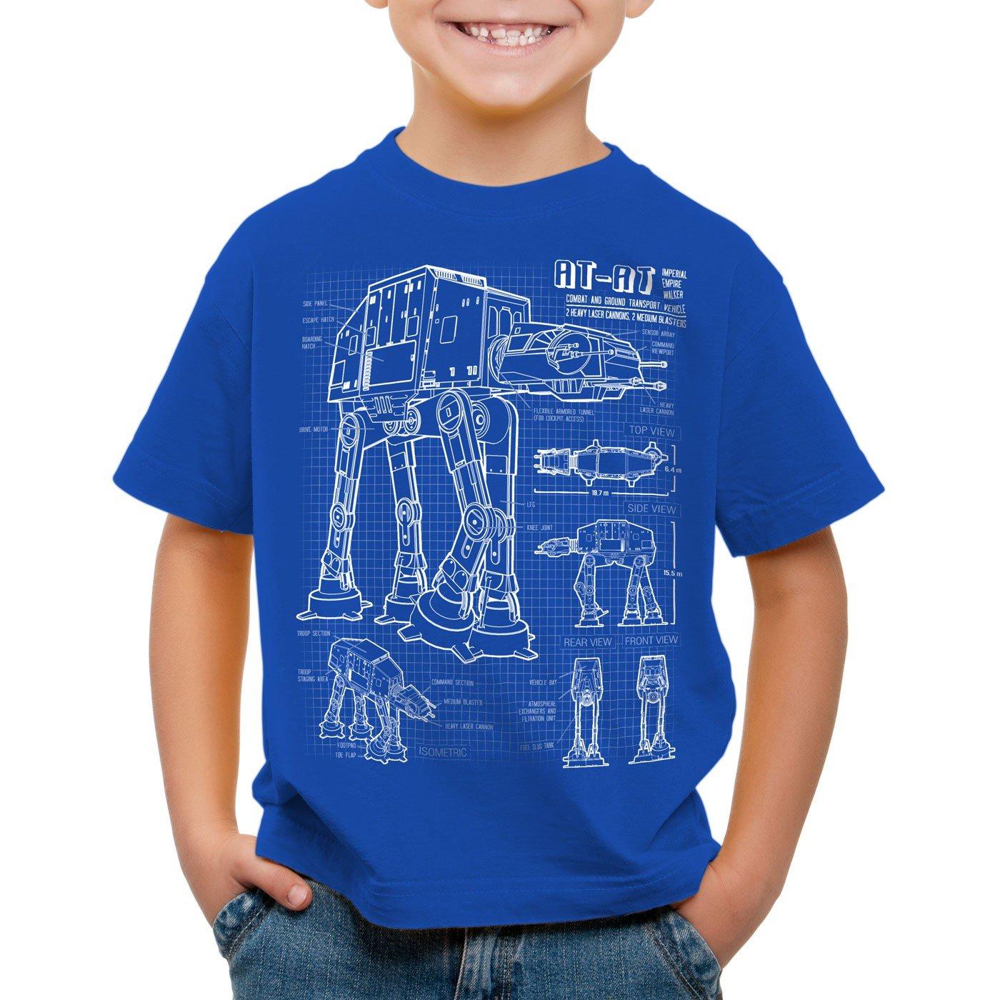 style3 AT-AT Cianotipo Camiseta para Niños T-Shirt Fotocalco Azul ...