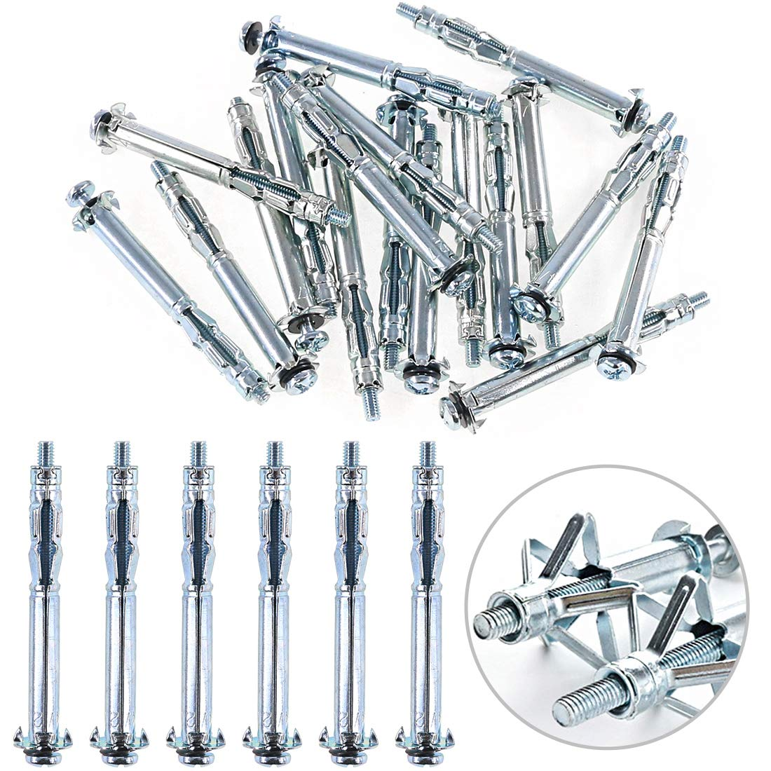 Glarks 80Pcs 6 Size Heavy Duty Zinc Plated Steel Molly Bolt Hollow Drive Wall Anchor Screws Assortment Kit for Drywall Plaster and Tile