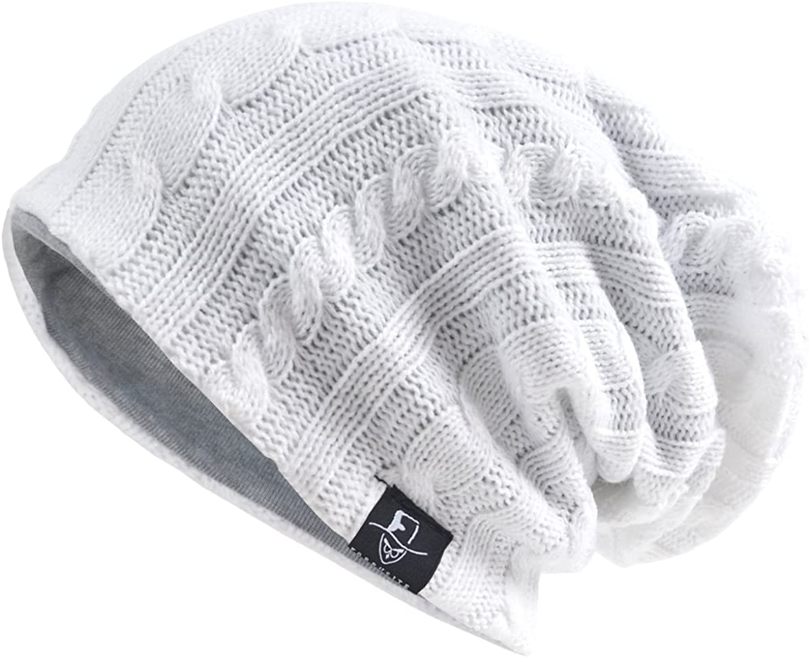 VECRY Men's Cool Cotton Beanie Slouch Skull Cap Long Baggy Hip-hop Winter Summer Hat (Cable-White) at  Men's Clothing store