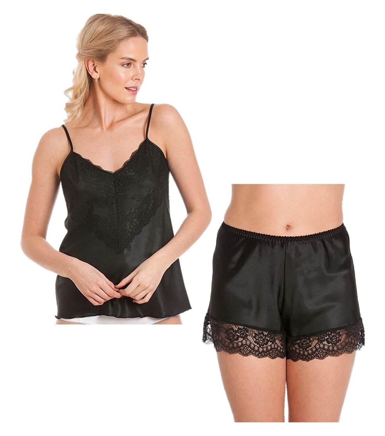 f432f4e01 Ladies Satin cami Set Camisole French Knickers Shorts Lace Retro Plus Sizes  at Amazon Women s Clothing store