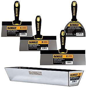 "DEWALT Stainless Steel Taping Knife & Mud Pan Set + FREE BONUS 6"" Soft Grip Putty Knife | 8/10/12-Inch Blades | Soft Grip Handles | DXTT-3-173"