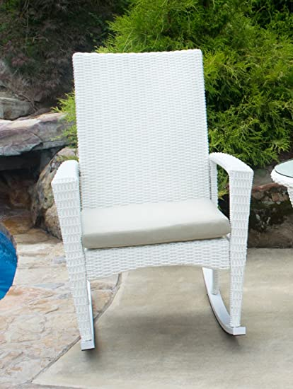 Amazoncom Tortuga Outdoor Bayview Wicker Rocking Chair White