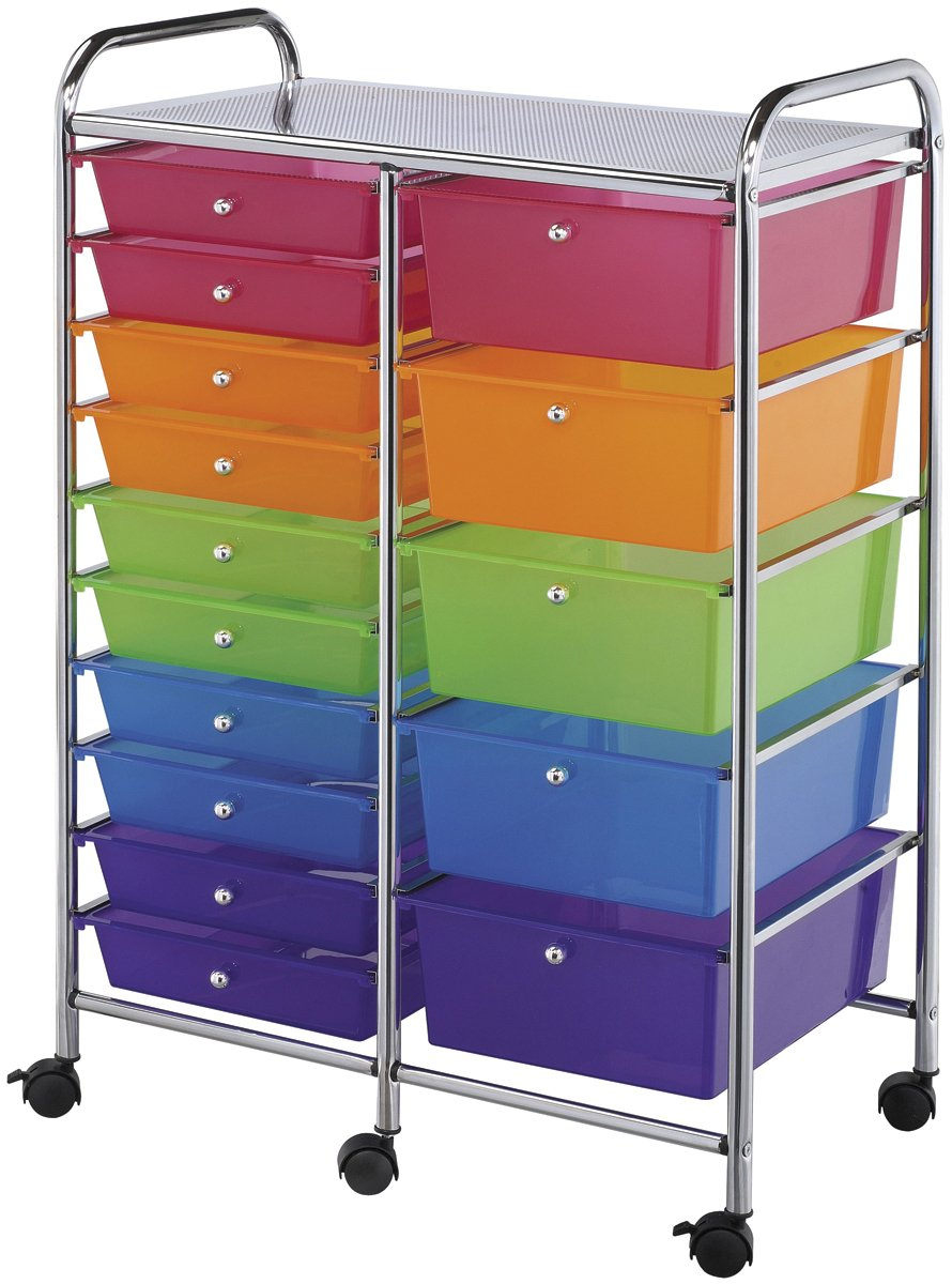 Blue Hills Studio 439496 Double Storage Cart W/15 Drawers, 25.5X38X15.5 Multicolor Notions