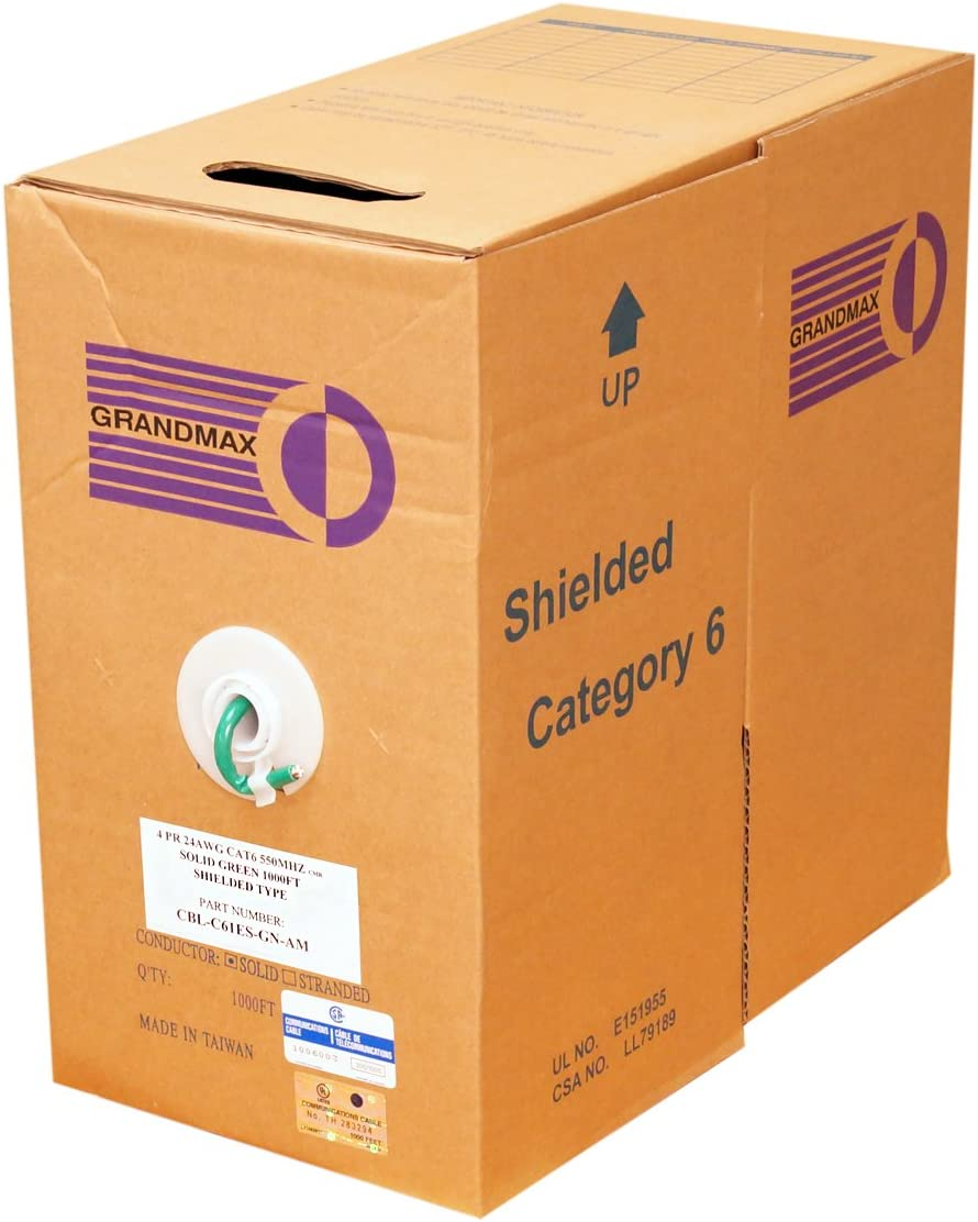 4 Pair GRANDMAX CAT6 550MHz Shielded Solid Bulk Cable 1000ft 100/% Pure Copper 24 AWG// 1000FT// RED CMR Rated Multiple Colors Available STP Pull Box
