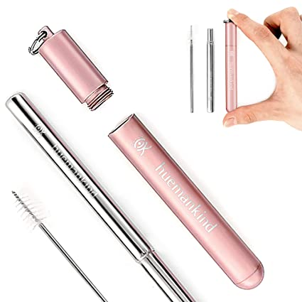 Reusable Collapsible Straw With Case & Brush: Telescopic Retractable  Stainless Steel Metal Drinking Straw, Travel Pocket Size & Portable Straws  with