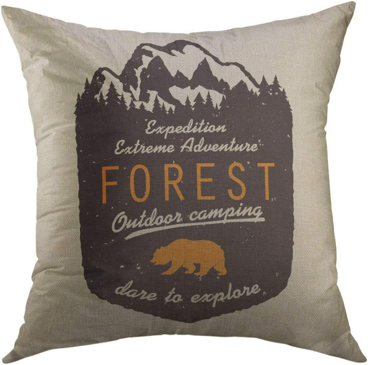 Mugod Forest Decorative Throw Pillow Cover for Couch Sofa,Adventure Expedition with Mountains Pine Trees Climbing Trekking Hiking Mountaineering Stamp Hipster Home Decor Pillow case 18x18 Inch