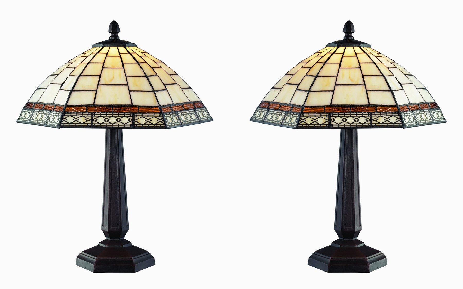 Tiffany Style Antique Tabe Lamp Set